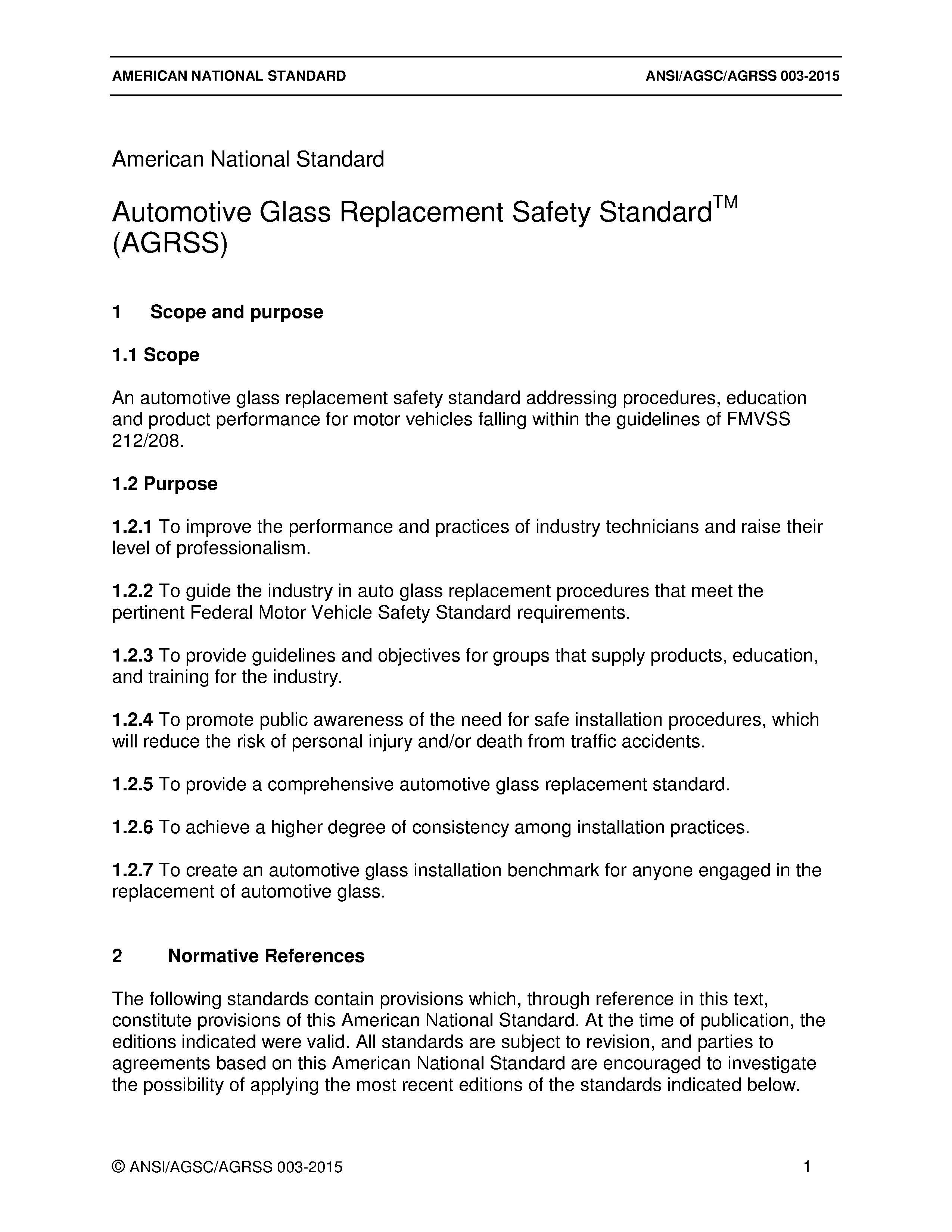 Ansiagscagrss Standard Auto Glass Safety Council